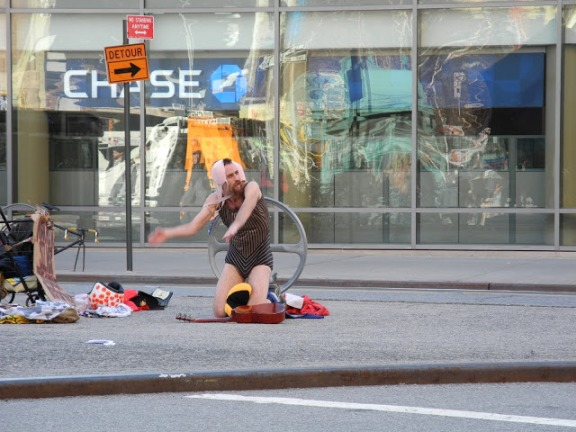 Man With Bra on His Head Dancing at Astor Place