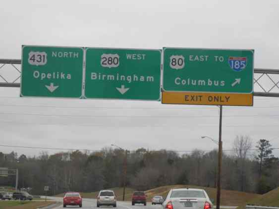 Highway signs in Alabama. Some of my family lives over there too, right on the border with Georgia.