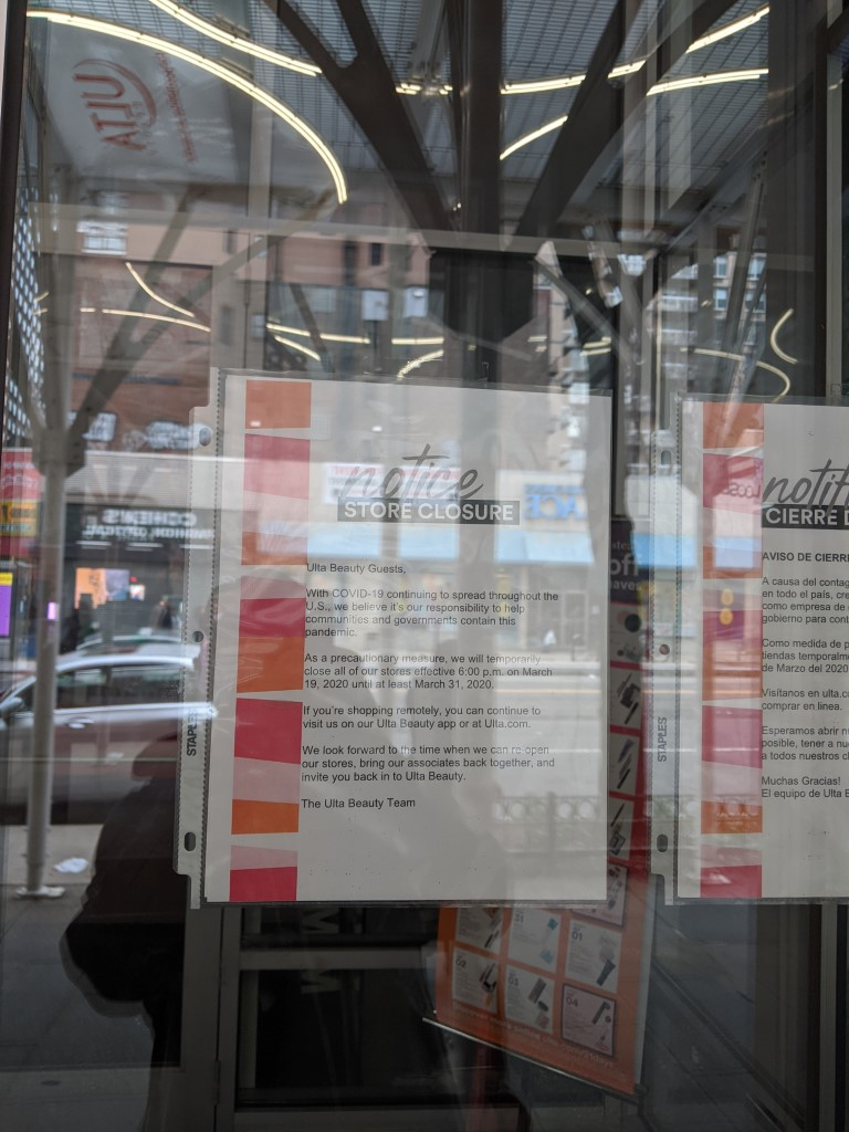 An picture of a temporary closure notice at Ulta on 86th Street