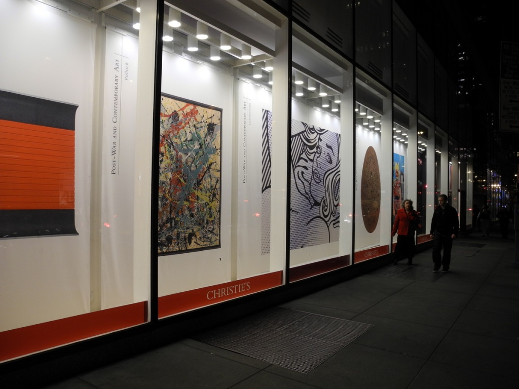 Christie's Auction House window displays.