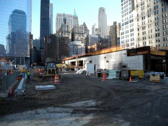 Construction surrounded the September 11 Memorial Site.