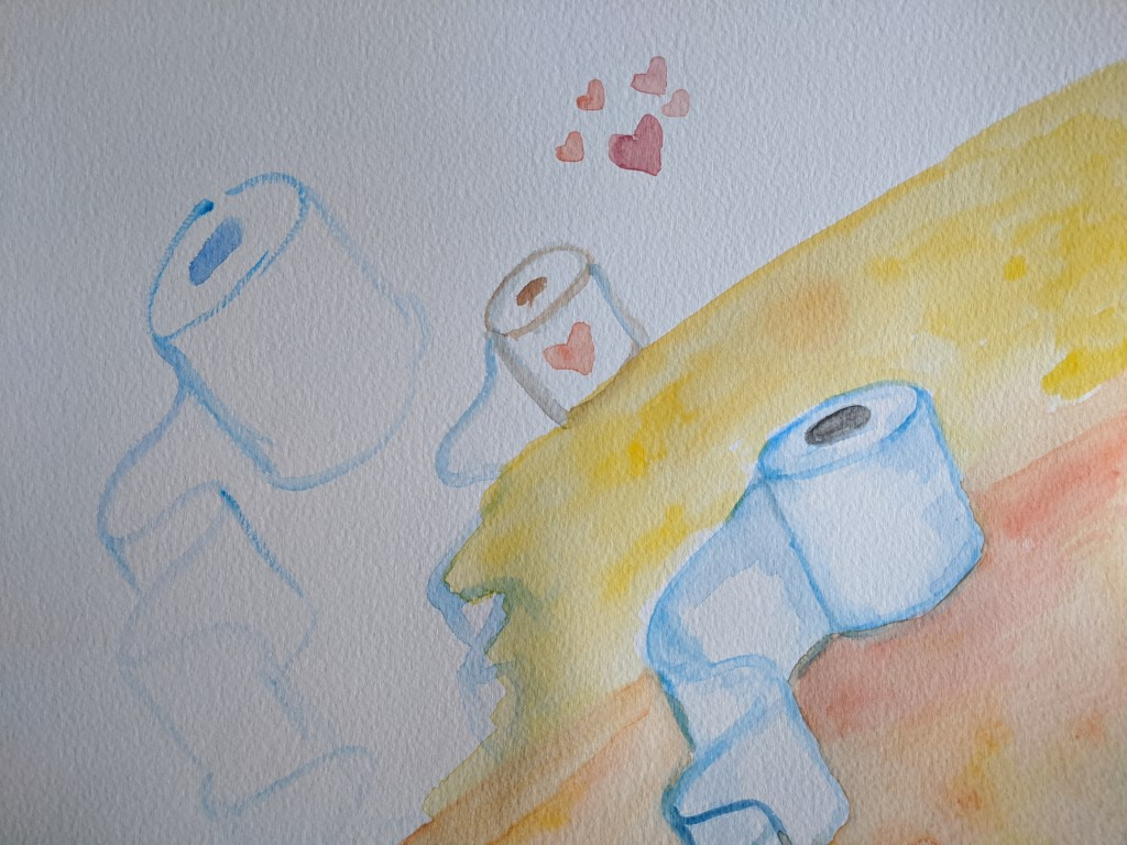 A watercolor painting of lovely toilet paper