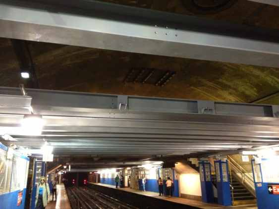 Steel girders covering the previously open vaulted section of the station.
