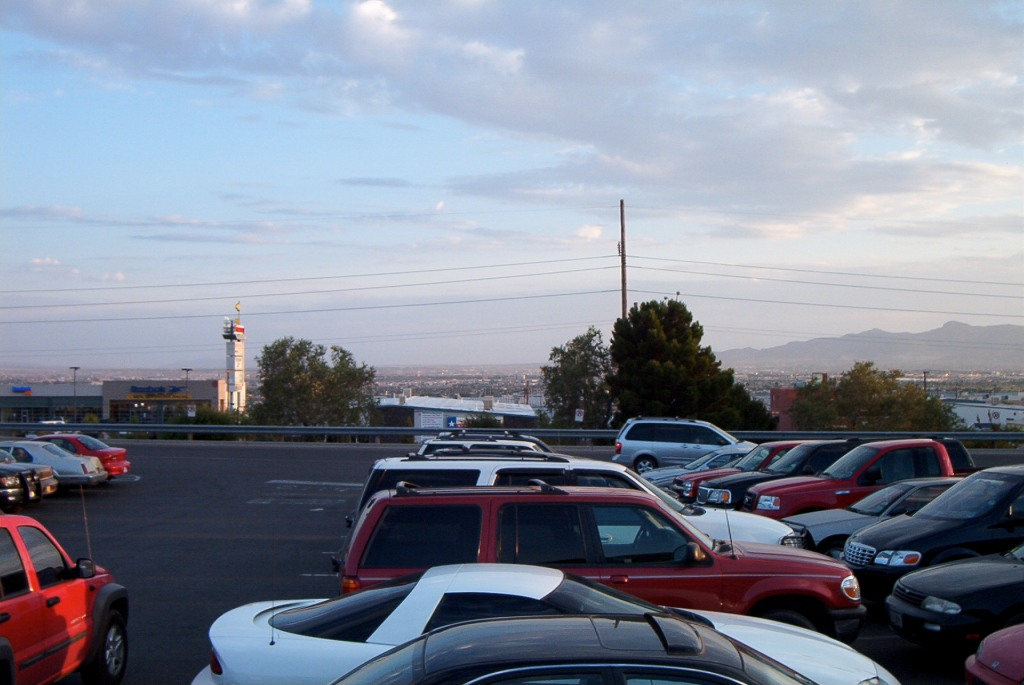 A picture I took in the parking lot of the Cielo Vista Mall in El Paso, Texas, while standing in the bed of my pickup truck. Ciudad Juarez in Mexico is visible in the distance.