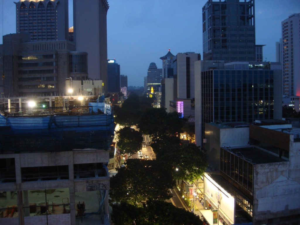 A view of Orchard Road from a deck at Orchard Central Mall