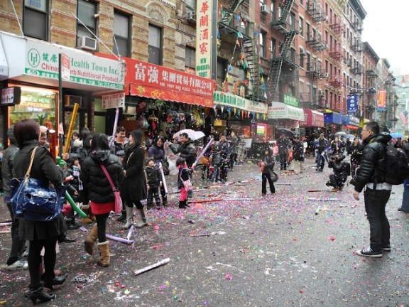 Street full of confetti, Chinese New Year's 2012