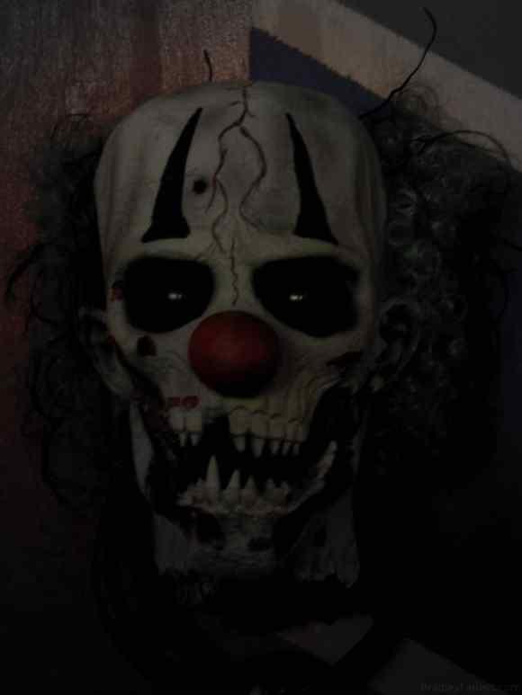A creepy clown head.