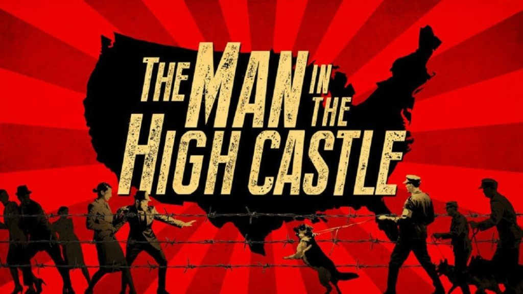 The Man in the High Castle movie title logo and background imagery.