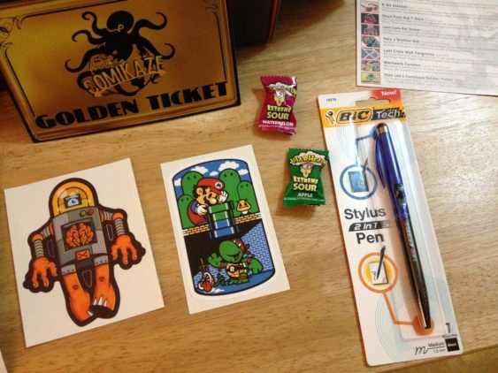 Mario/TMNT Mashup Sticker, Warheads and BIC 2-in-1 Stylus