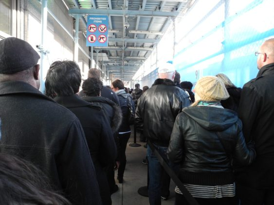 The line for security screening at the World Trade Center site.