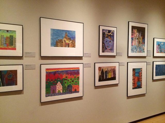 A selection of artwork by students of varying ages in New York City schools.