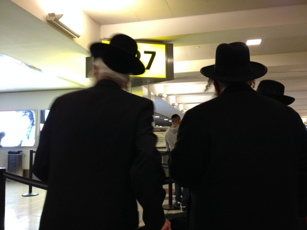 Chassidic guys that cut us in line.