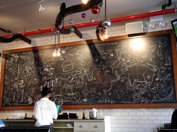 Chalk board covered with drawings, including a flask and Bunsen burner.