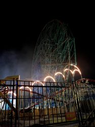 A picture of the Ferris Wheel. It had no cars on it, so it must have been closed for the season.
