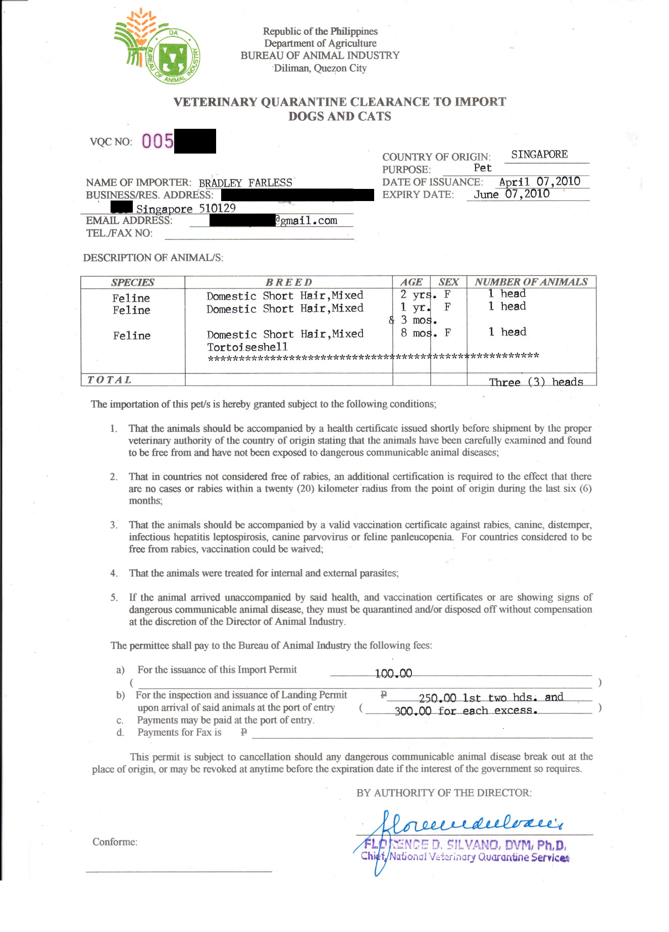 Republic of the Philippines Veterinary Quarantine Clearance to Import Dogs and Cats (List of Requirements for Importing Cats and Dogs Included in Document)