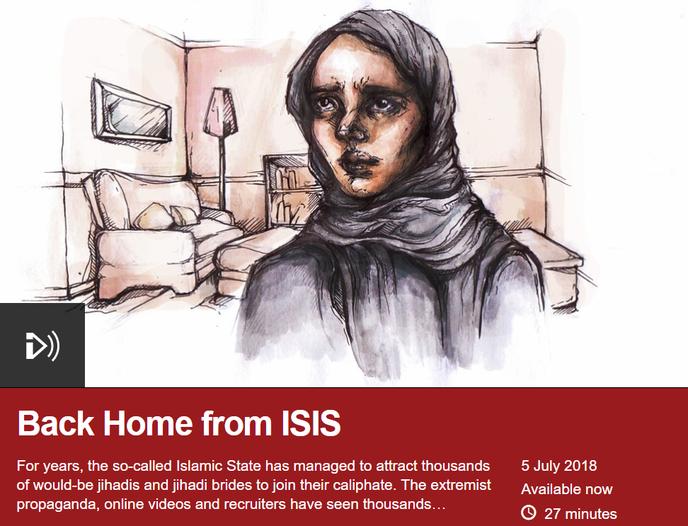 """A screenshot of the BBC iPlayer page for """"Back Home from ISIS"""", a podcast about an ISIS returnee to the UK"""