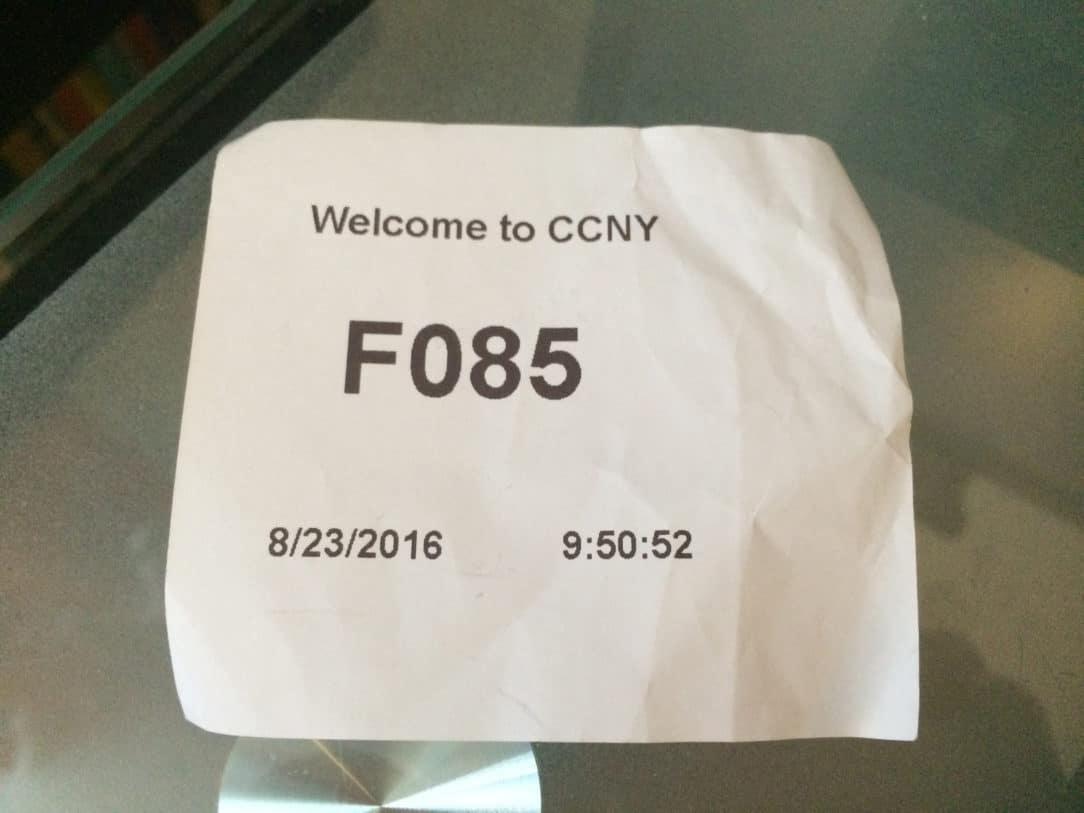 CCNY Queue Ticket, F085 8/23/16 9:50 AM