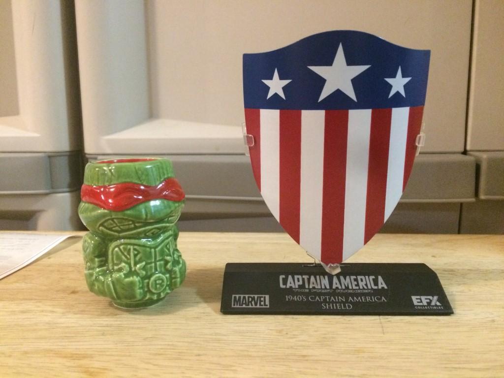 Raphael Ninja Turtles tikki mug and Captain America First Avenger Shield Replica