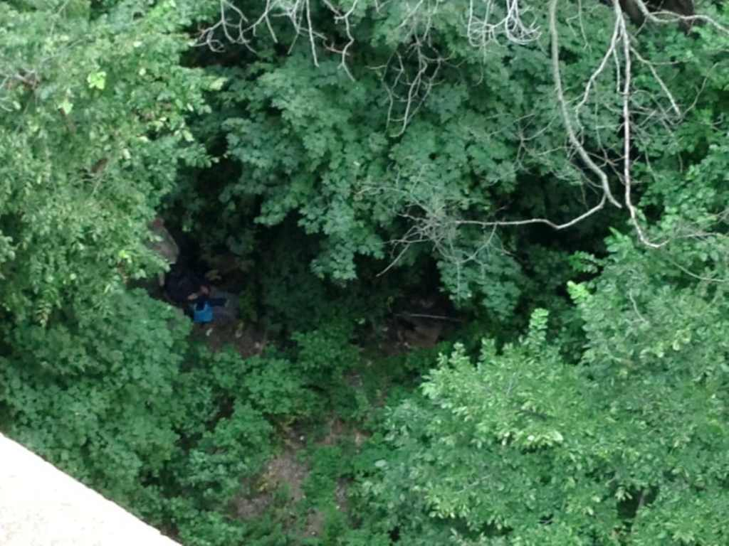 A homeless man getting comfortable in the bushes off the path in Fort Washington Park along the Hudson River Greenway.