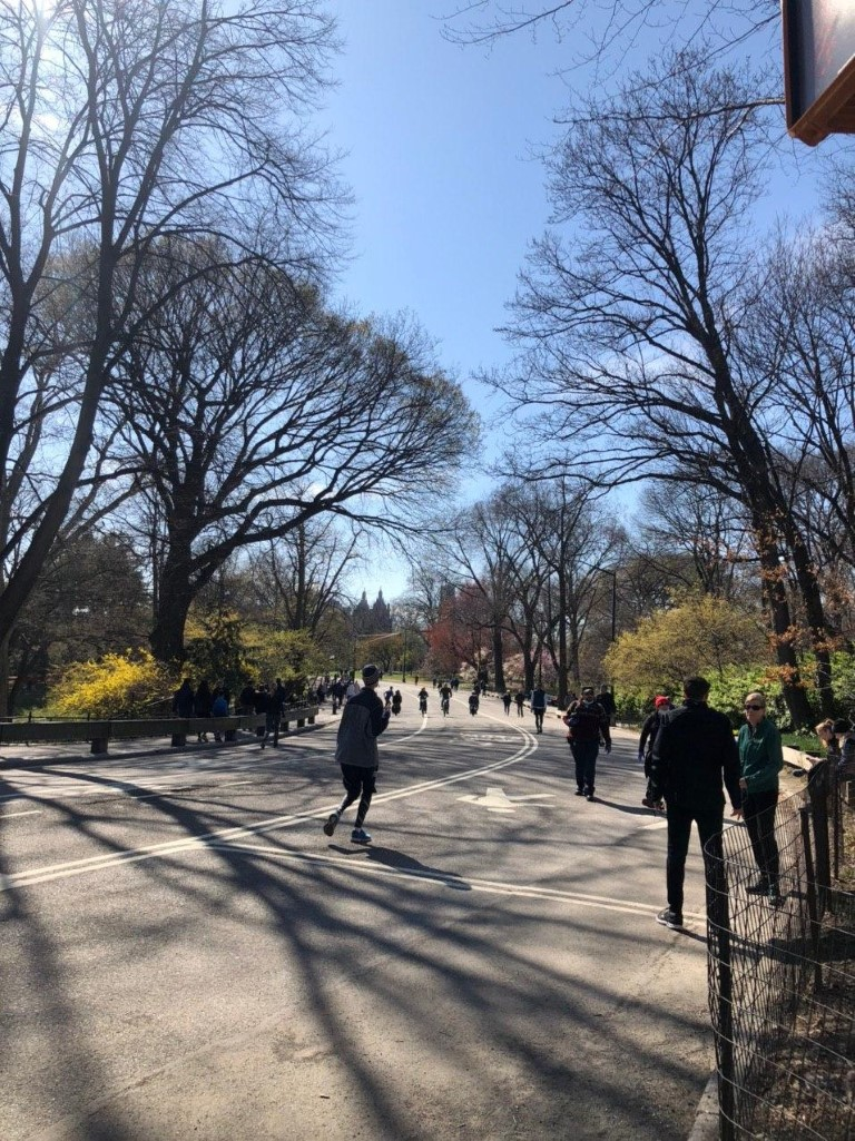 A large crowd of people jogging and walking in Central Park today, 3/21/2020