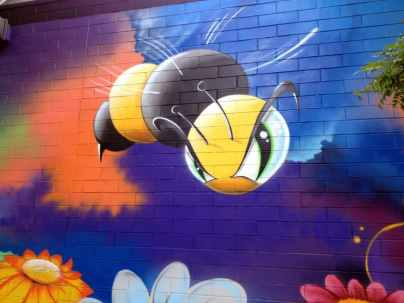 This bee replaced the spaceship they had originally painted.