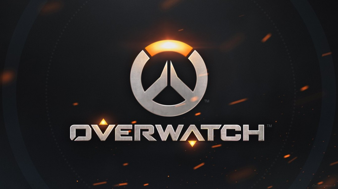 Overwatch logo on black textured background with flying sparks