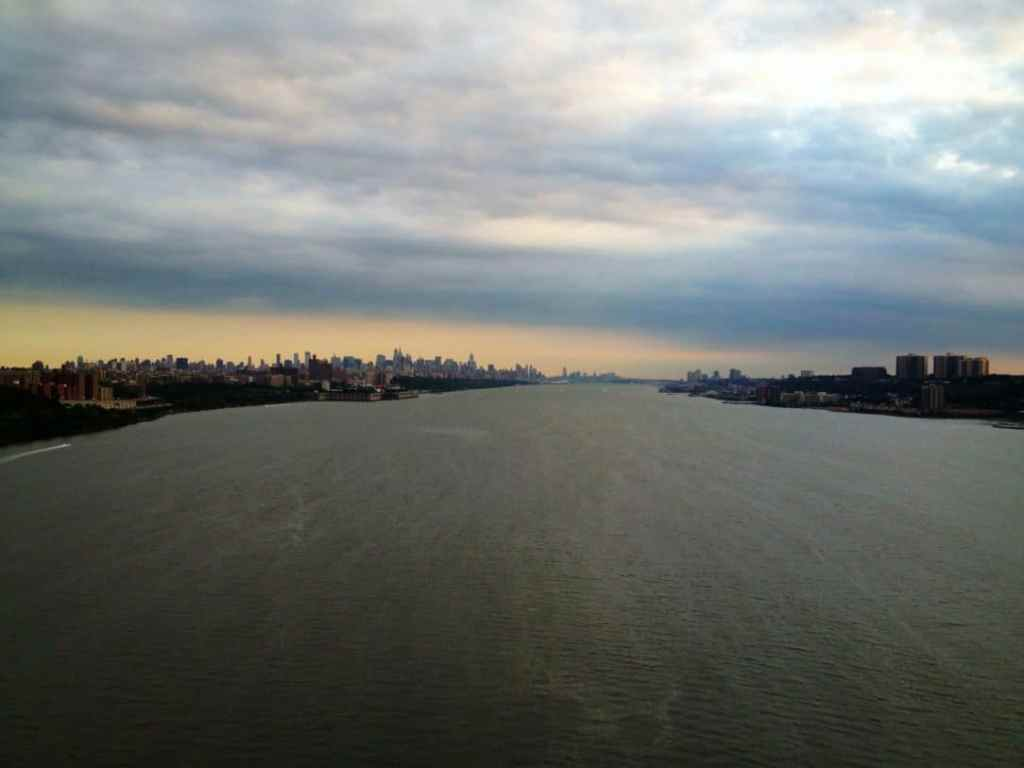 Lower Manhattan and Hoboken (I think), New Jersey as seen from the George Washington Bridge