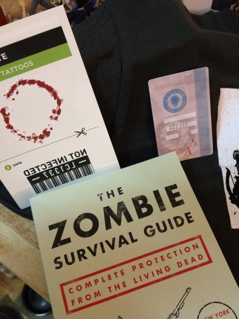 The Zombie Survival Guide and fake tattoos.