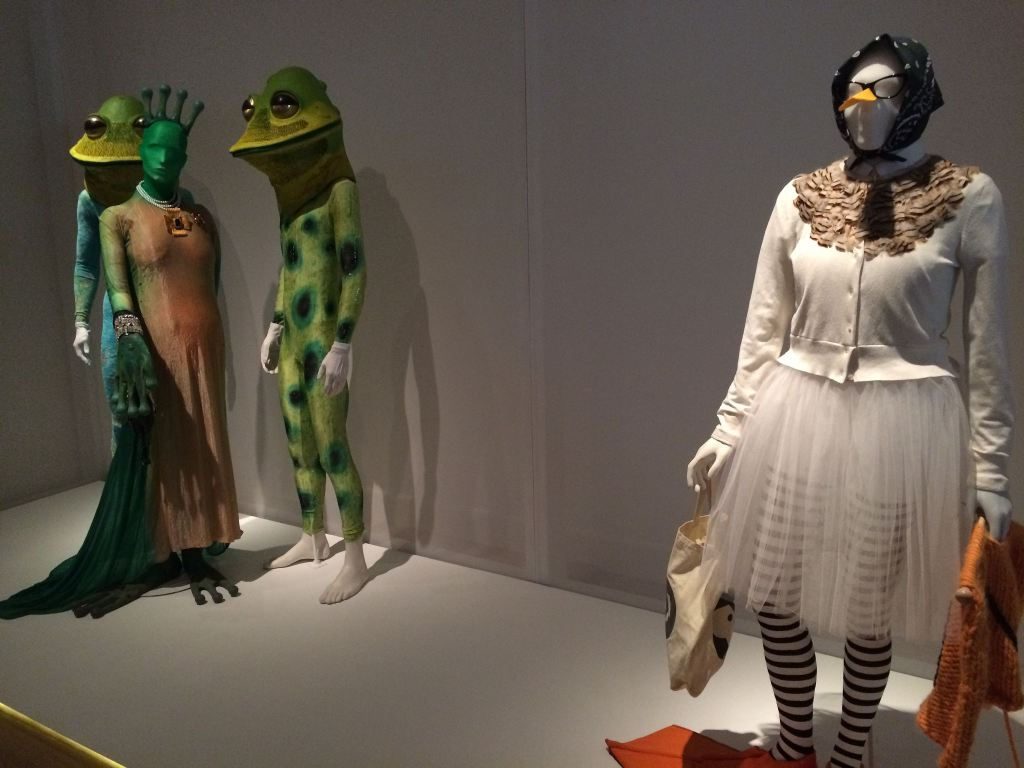 Unusual outfits at the Isaac Mizrahi exhibit at the Jewish Museum in August, 2016