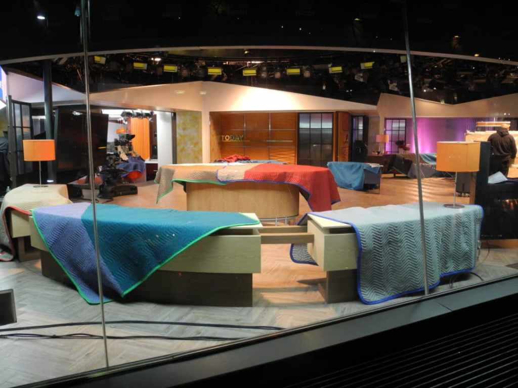 Looking into the NBC Studio news set from outside.