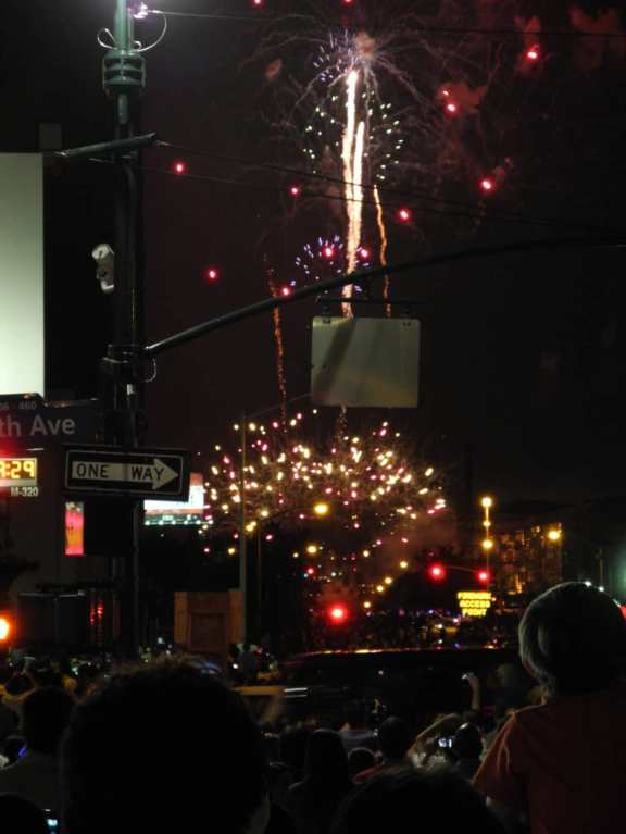 View of fireworks from 34th Street and 10th Avenue