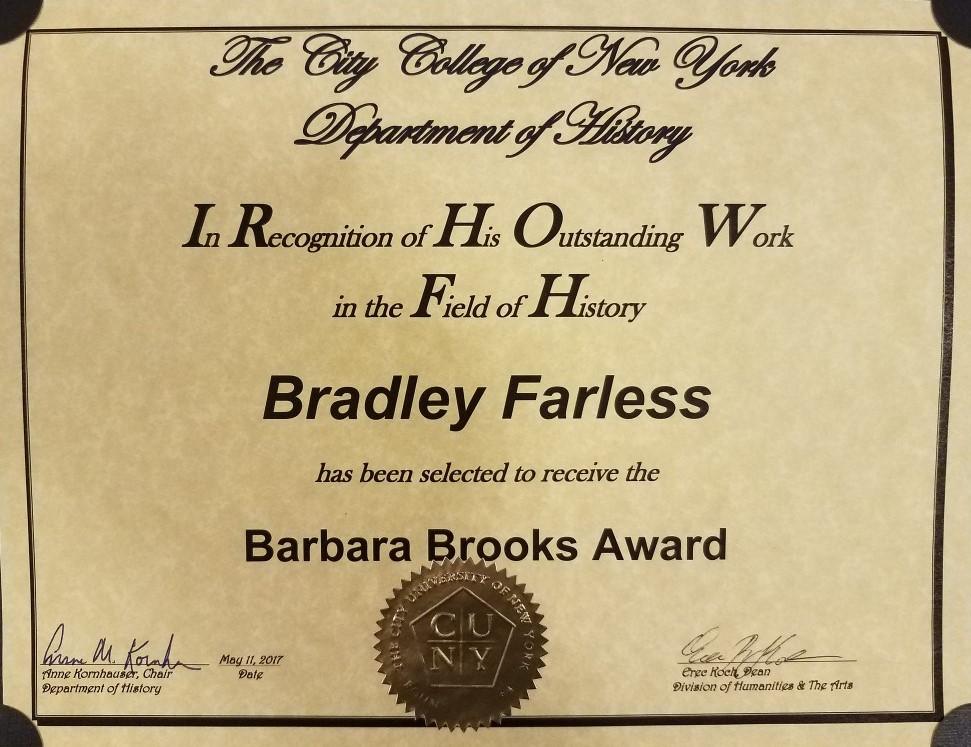 Barbara Brooks Award 2017 City College of New York