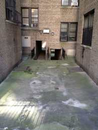 The courtyard of a building.