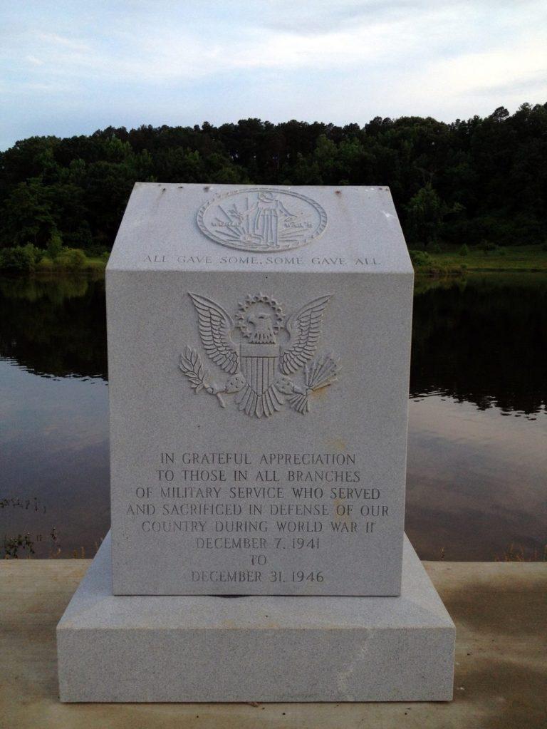 World War II Memorial at the Veterans Memorial Park in Tupelo, MS