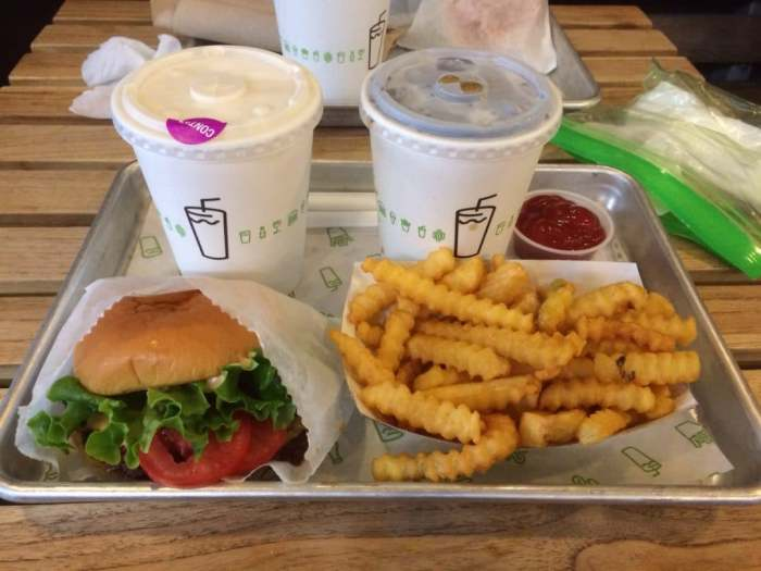 Shackburger, Fries, Peanut Butter Shake and Root Beer. Looks good, doesn't it?
