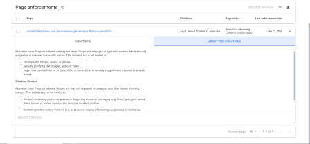 A screenshot of Google's policy enforcement violation list for this page.