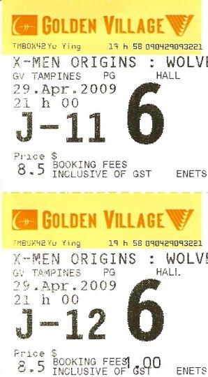 Golden Village Movie Ticket for X-Men Origins: Wolverine