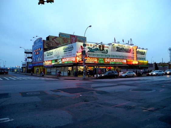 The original Nathan's Famous at Surf and Stillwell Avenues.