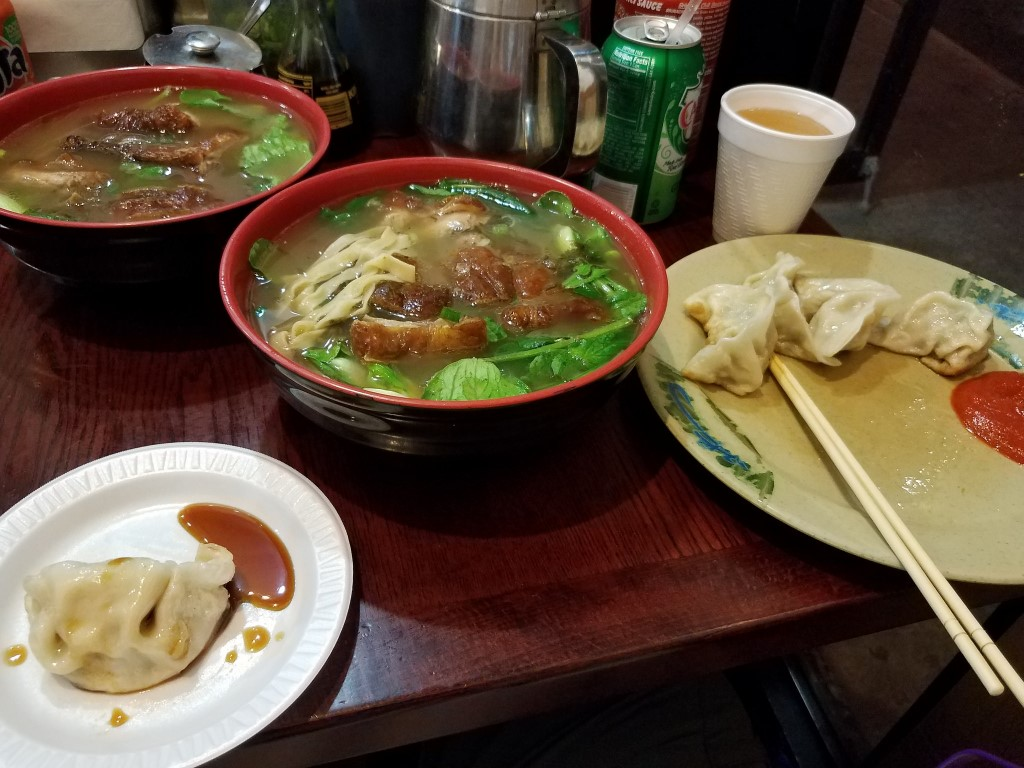 Duck noodle soup and chicken veggie dumplings at Tasty Hand-Pulled Noodles
